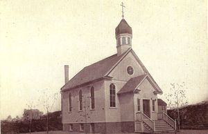 This 1912 photo shows the first church built by Saints Cyril & Methodius Orthodox Church in Terryville. A new church now stands on the same spot and the parish is celebrating their 100th anniversary this weekend. Contributed photo.