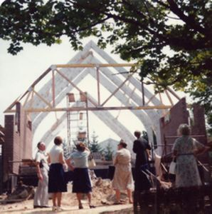Parishioners of Saints Cyril & Methodius Orthodox Church in Terryville look over the construction of their new church in 1979. The parish this weekend celebrates its 100th anniversary. Contributed photo.