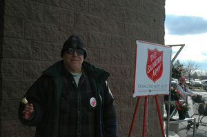 Andrew Bunda of Torrington rings the bell on the main entrance of Walmart on Wednesday to raise money for the Salvation Army. Price Choppers and Walmart are the most lucrative sites for the Salvation Army's annual campaign. Bunda, who typically works at Kmart's front entrance, said he received donations of $50 and $20 on Tuesday. Bruno Matarazzo Jr. Republican-American.