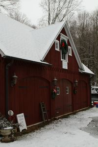 Snow coats a barn on South Britain Road in Southbury Tuesday morning. Laraine Weschler