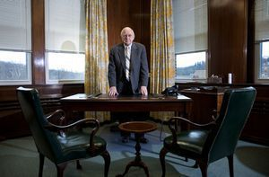Leonard F. Leganza, CEO of The Eastern Company, in his office of their headquarters in Naugatuck.  Jim Shannon Republican American