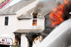 The cause of a fire that gutted 64 Griswold St. in Torrington on Monday is under investigation. Alec Johnson/RA