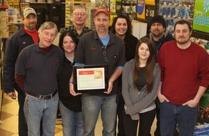 cutline attribution name: John Mckenna Republican-American TRUE VALUE HARDWARE OF LITCHFIELD OWNER ROGER MAHIEU JR. HOLDS THE BEST HARDWARE STORE IN TOWN AWARD THE STORE RECEIVED FROM TRUE VALUE CO. WITH MAHIEU, FROM LEFT, ARE KEN STULL, ALAN JEANFAVRE, ROSE FRENETTE, RICHARD DUKE, SUSAN KENNEDY, MICHELLE FOSS, RICK RICCI AND CHRIS GOSLEE.