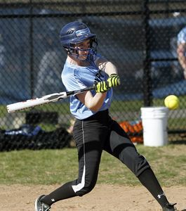 Oxford, CT- 25 April 2013-042513CM05- Oxford's Meg Sastrum keeps her eye on the ball against Notre Dame during SWC softball action Thursday afternoon in Oxford. Christopher Massa Republican-American