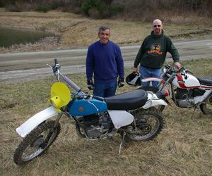 Steve Maughmer, left, and his 1977 Bultaco Frontera and Tim Sparks and his 1973 OSSA 250 Six Day Replica. Bud Wilkinson / Republican-American