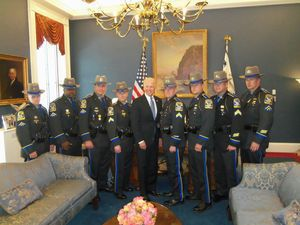 Southbury Resident Trooper Michael O'Donnell, fourth from left, accompanied seven troopers to Washington, D.C., on Tuesday to meet with Vice President Joe Biden to discuss the Sandy Hook Elementary School shootings in Newtown on Dec. 14. O'Donnell was one of the first troopers to respond to the school that day. Also pictured are, from left, Trooper Keith Buinauskas, Trooper Richard McDaniel, Trooper Matthew Bell, O'Donnell, Biden, state police union President Andrew Matthews, Trooper Josef D'Uva, STOPS Coordinator Troy Anderson and Trooper Anthony Cipriano. Contributed