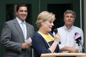Elinor C. Carbone, a Republican, thanks guests after announcing her candidacy for mayor during a news conference Thursday at Torrington City Hall. Behind her are Mayor Ryan J. Bingham and her husband Gerry Carbone. Jim Shannon Republican-American