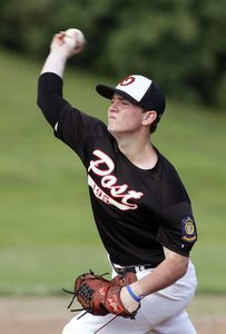 Southbury, CT- 03 June 2013-070313CM07- Oakville's Cooper Mooney delivers a pitch during American Legion Zone 5 action against Naugatuck at Pomperaug High School Wednesday afternoon. Christopher Massa Republican-American