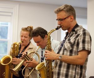 Litchfield Jazz Camp faculty, from left, Champian Fulton, Claire Daly, Claudio Roditi, and Mike DiRubbo perform Sunday. Credit: Dale Rothenberg
