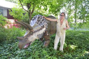 Mark Hadzega stands with his 14-foot-long lawn ornament, a triceratops, at his home on Acme Drive in Middlebury. Alexandra Pape/RA