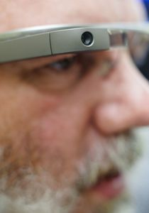 Aldon Hynes is among the 8,000 people who bought the Google Glass device in beta form. Erin Covey/RA