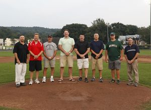 Torrington, CT- 21 August 2013-082113CM09- Tri-State League hall of fame inductees left to right, Tri-State League Commissioner Ed Gadomski, Billy Liefert, Tim Hamel, Rich Thompson, Pat Murphy, Jay Rocca, Chris Clark, and D.J. Reese at Fuessnich Park in Torrington Wednesday night. Christopher Massa Republican-American