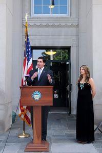 TORRINGTON, CT, 20 MAY 13- 052013AJ03- Torrington Mayor Ryan J. Bingham on Monday, standing beside his wife Jennifer, announces he will not seek reelection in November. Alec Johnson/ Republican-American