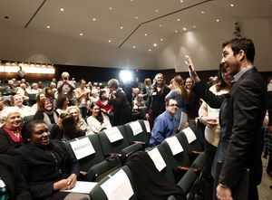 Actor and Waterbury native Dylan McDermott, waves to fans during an induction ceremony at Holy Cross High School in Waterbury Saturday afternoon. McDermott was one of the five honorees inducted into the Silas Bronson Library's Waterbury Hall of Fame. Christopher Massa Republican-American