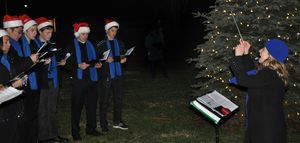 The Kent School Kentones and Kentettes performed a cappella renditions of Christmas carols Saturday at the town tree lighting in front of Kent Town Hall. Lynn Mellis Worthington Republican-American