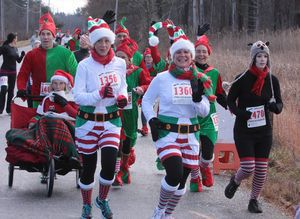 It was a colorful field for the annual Jingle Bell Run in Litchfield on Saturday. Among the participants were, from left, Tom Briggs of New Haven, who pushed his mother, Joyce Briggs of Litchfield, Barbara Law of Torrington, Kathy Budzyn of Goshen and Danielle Breault of Terryville. John McKenna Photo