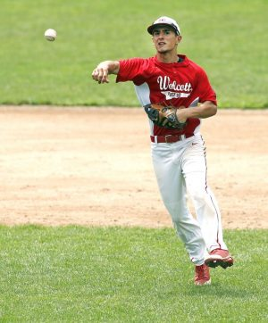 Bristol, CT- 19 July 2015-071915CM02- Wolcott shortstop Vince Gambino makes the throw to first base during their American Legion matchup against Bristol at Muzzy Field on Sunday. Wolcott would go onto lose, 5-0. Christopher Massa Republican-American