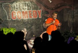 Dave Reilly, owner of the new Club Comedy on South Main Street in Naugatuck, welcomes the opening-night crowd on Thursday.  Jim Shannon Republican-American