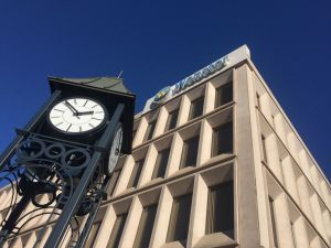 The headquarters for Webster Financial Corp., the holding company for Webster Bank, and the clock dedicated to the bank's founder, Harold Webster Smith, stand at the corner of Waterbury's Grand and Bank streets against Thursday's clear blue sky. The company on Thursday reported an increase in earnings for the fourth quarter and full year of 2015. Michael C. Juliano Republican-American