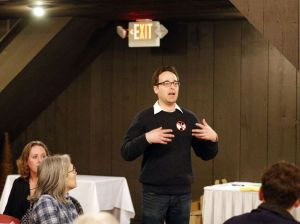 Noah Gittell of Woodbury talks to a group of people during a meeting at Colonial Tavern in Oxford on Thursday. Area residents held a meeting to talk about the proposed Oxford power plant. Christopher Massa Republican-American
