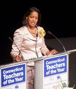 Kennedy High School teacher Jahana Hayes, 2016 Connecticut Teacher of the Year, gives her acceptance speech during the annual Connecticut Teacher of the Year ceremony at the Bushnell Theater in Hartford in November. Republican-American Archive