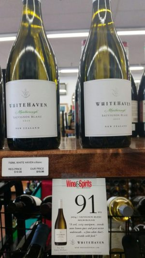 A promotion at Mountview Plaza Wine and Liquors in Naugatuck for a 2014 sauvignon blanc from Whitehaven Wine touts a 91-point review from Wine & Spirits Magazine. The bottle on the shelf above is a 2015 vintage.  Laraine Weschler Republican-American