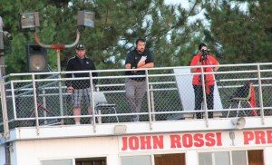 New Woodland football coach Chris Moffo, center, overlooks the field at Wolcott High as the Hawks' defensive coordinator last season. (Contributed)