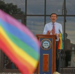 U.S. Sen. Christopher S. Murphy addresses dozens of people Friday at Coe Park during the second vigil in Torrington this week for native Kimberly 'KJ' Morris, a victim of the mass shooting in Orlando on Sunday. Michael Kabelka / Republican-American