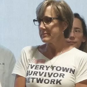 Mary Jacob, a library clerk who survived the mass shooting at Sandy Hook Elementary School, participated in a national day of protest for stronger federal gun laws that Democrats organized across the country Wednesday. Paul Hughes Republican-American