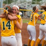 Holy Cross' Lindsay Barton (14) and Allie Brown (1) celebrate their Class S state championship with a 2-0 win over Notre Dame-Fairfield Saturday at DeLuca Field in Stratford.  Jim Shannon Republican-American