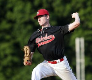 Waterbury, CT- 30 June 2015-063015CM10- Waterbury's Shea Dooley delivers pitch during their American Legion baseball matchup against Waterbury at Municipal Stadium in Waterbury on Tuesday. Waterbury won, 1-0. Christopher Massa Republican-American