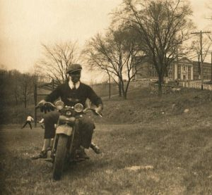 William B. Johnson enjoys a ride near his Harley-Davidson dealership in Somers, N.Y., in this photo from the Somers (N.Y.) Historical Society. (Contributed photo)