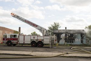 WATERBURY, CT- 26 September 2016-092616EC11- A fire destroyed a house on along Adams Street in Waterbury Monday afternoon. Erin Covey Republican-American