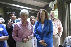 Lt. Gov. Nancy S. Wyman, left, and U.S. Rep. Elizabeth H. Esty of the 5th District attend a gathering put on by the Northwest Connecticut Democratic Coalition and the Connecticut Women's Caucus in Sharon Saturday. Ruth Epstein Republican-American