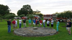 MIDDLEBURY, CT --- 06 Aug. 2014: 080614BB02 --- Fire Chief Paul Perrotti explains the features of the Smith family's cistern during a demonstration Wednesday. Bill Bittar Republican-American
