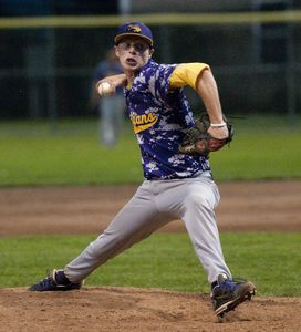 TORRINGTON, CT 082014JS18--Tri-Town's Miles Scribner delivers a pitch during game 1 of their Tri-State League finals against Wolcott Wednesday at Fuessenich Park in Torrington.  Jim Shannon Republican-American