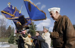 Art Schreier of Watertown, then 84, a Pearl Harbor survivor, participated in Oakville's annual Pearl Harbor ceremony in 2005. Republican-American archive