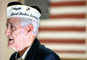 Bristol's last known surviving member of the Pearl Harbor attack Ed Riccio Jr., then 83, talks Dec. 7, 2002 about his experience as a top turret gunner in the Army Air Corps at Hickam Field when the Japanese attacked. He was speaking during a ceremony at the Seicheprey Post No. 2 American Legion. AP Archive Photo/The Bristol Press, Mike Orazzi