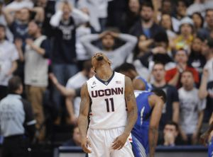 Connecticutís Ryan Boatright reacts during the second half of an NCAA college basketball game against Memphis, Thursday, March 5, 2015, in Storrs, Conn. Memphis won 54-53. (AP Photo/Jessica Hill)