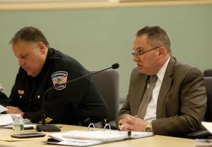 Torrington Police Chief Michael Maniago, right, answers questions from the Board of Public Safety on March 19 at City Hall. He is seated beside Deputy Police Chief Christopher Smedick. Alec Johnson/ Republican-American
