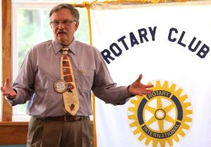 David T. Wilson of Litchfield, the Republican candidate for state representative in the 66th House District, addresses the Litchfield-Morris Rotary Club on Thursday. John McKenna Republican-American