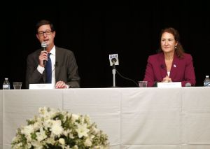 Republican challenger Clay Cope and U.S. Rep. Elizabeth H. Esty answer questions during a Fifth Congressional District debate at the Portuguese Cultural Center in Danbury on Thursday night. The event was hosted by the League of Women Voters of Northern Fairfield County, the Danbury News-Times and the League of Women Voters of Litchfield County. Christopher Massa Republican-American