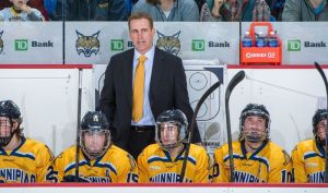 Quinnipiac head coach Rand Pecknold looks on during a playoff series against Yale last March. Pecknold recruited nine freshmen in this class, and five of them started in Saturday's 5-3 win over Bentley. (Quinnipiac Athletics)