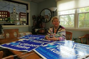 Audrey Blondin, a Torrington attorney and 30th District State Central Committee member, is supporting Hillary Clinton for president but said many in Litchfield County believe in Donald Trump's economic populist message. Blondin spent $270 to buy about 57 signs to compete with the high number of Trump signs in Litchfield County. Bruno Matarazzo Jr. Republican-American