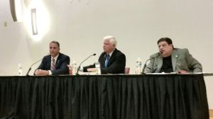 From left, Matthew M. Corey, U.S. Rep. John B. Larson and Michael DeRosa participate in the First Congressional District debate on Wednesday night in Hartford. Kurt Moffett Republican-American