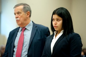 Talia Colon stands with her attorney Mark Kostecki as the judge hands down his sentence to her for the death of Anthony Steele in 2012. Jim Shannon Republican American