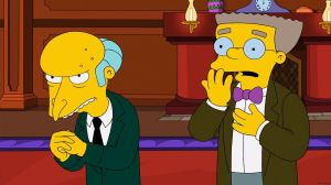 This image released by Fox shows Mr. Burns, left, and his assistant Smithers, both voiced by Harry Shearer, in a scene from the long-running animated series,