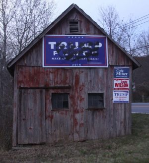 A Donald Trump for president sign on a barn owned by Lewis Tanner in Warren was defaced last week. John McKenna Republican-American