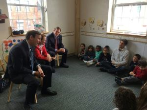 From left, Sen. Christopher S. Murphy, D-Conn., Rep. Elizabeth H. Esty, D-5th District, and Sen. Richard Blumenthal, D-Conn. talk to preschool students at the New Britain YWCA about kindness after reading them a story. The Connecticut delegation kicked off a Day of Kindness in recognition of Wednesday's fourth anniversary of the Sandy Hook School shootings. Bruno Matarazzo Jr. Republican-American