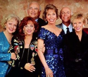 From left, Betty White, Valerie Harper, Ed Asner, Mary Tyler Moore, Gavin MacLeod and Chloris Leachman.